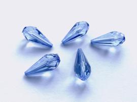 Blauwe facetkralen in druppelvorm