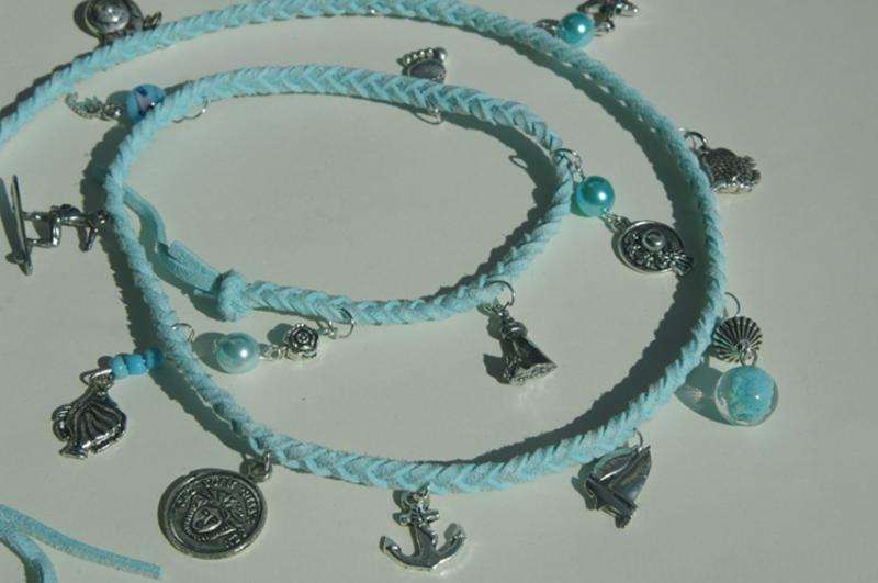 Wrap bracelet in lichtblauw met thema zon en zee (AB-014)