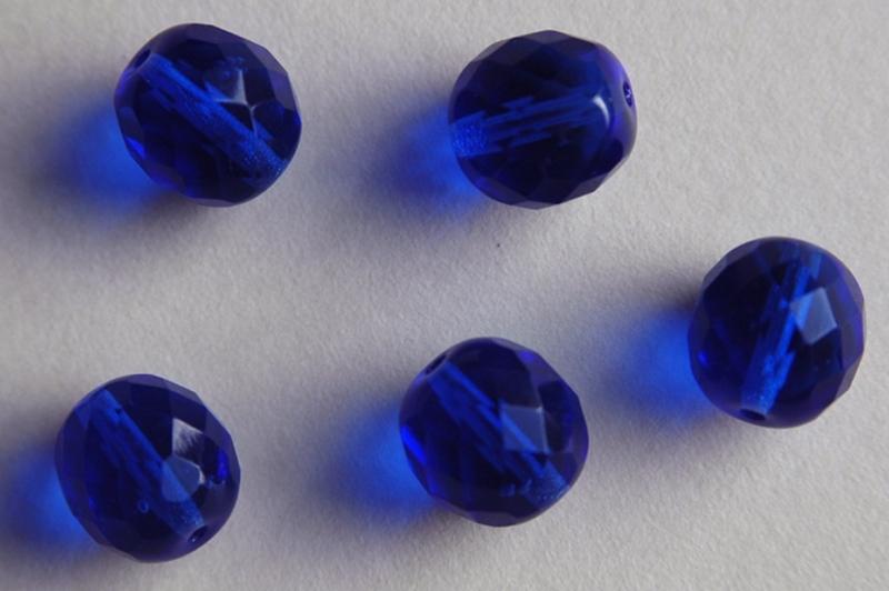 Diepblauwe facetkraal 10 mm F-077-bh)