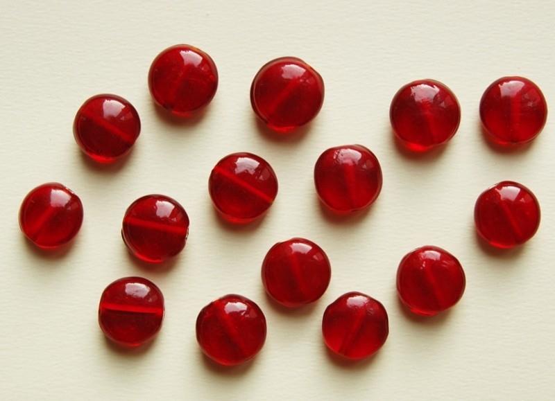 Grote rode platte glaskralen, handgemaakt  (K-009-BK)