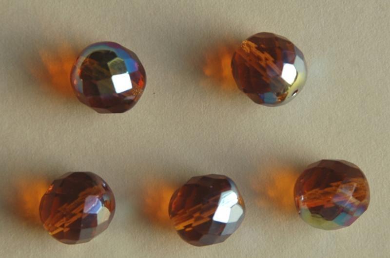 Facetkraal in amber met AB-glans 12mm (F-028-BH)