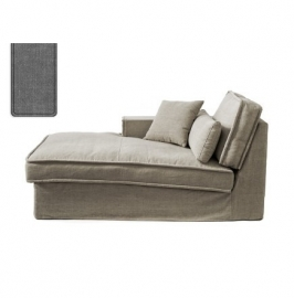 Metropolis Chaise Longue Left, washed cotton, grey 3723002