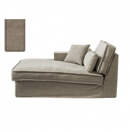 Metropolis Chaise Longue Left, washed cotton, natural 3723001