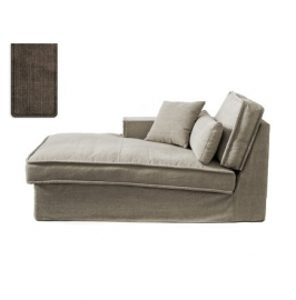 Metropolis Chaise Longue Left, washed cotton, brown 3723004