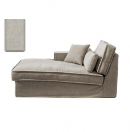 Metropolis Chaise Longue Left, washed cotton, ash grey 3723007