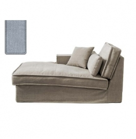 Metropolis Chaise Longue Left, washed cotton, ice blue 3723009