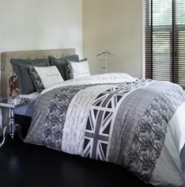 Riviera Maison dekbedovertrek Britain Basics  Grey 140x200/220