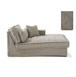 Metropolis Chaise Longue Right, washed cotton, stone 3722003