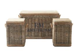 Rustic Rattan Plantation Trunk Set van 3 White Riviera Maison 307580