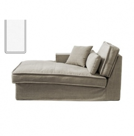Metropolis Chaise Longue Left, washed cotton, white 3723005