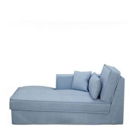Metropolis Chaise Longue Left, washed cotton, ice blue 3723009
