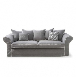 Saint James 3,5-seater sofa, washed cotton, grey/white 3707002