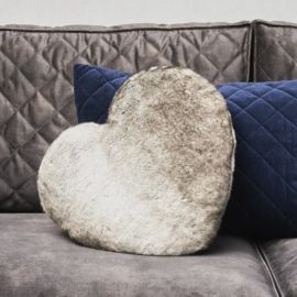 Chinchilla Faux Fur Heart Pillow Riviera Maison 436480