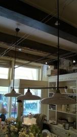 Hanglamp Luigi Plafondlamp plus 3 kappen ecru wit