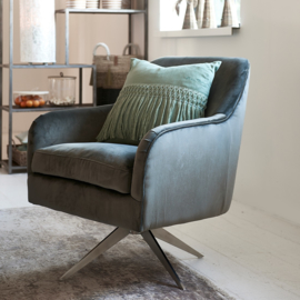Fawcett Swivel Chair, velvet, grey Riviera Maison 4688001