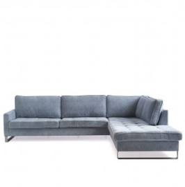 West Houston Corner Sofa Chaise Longue Right, velvet, light blue Riviera Maison 3949006