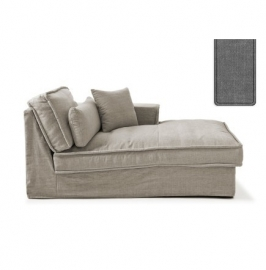 Metropolis Chaise Longue Right, washed cotton, grey 3722002