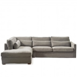 Brompton Cross Corner Sofa Chaise Longue Left, washed cotton, grey Riviera Maison 3845002