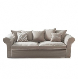 Saint James 3,5-seater sofa, washed cotton, natural/white 3707001