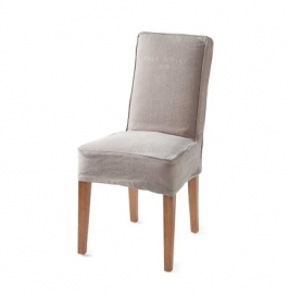 Cape Breton Dining Chair with loose cover, washed linen, taupe Riviera Maison 3618003