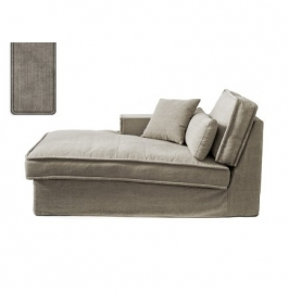 Metropolis Chaise Longue Left, washed cotton, stone 3723003