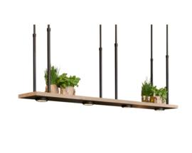 Tray XL Mat zwart Frezoli Hanglamp met donker eiken rand: art. L.207.1.600