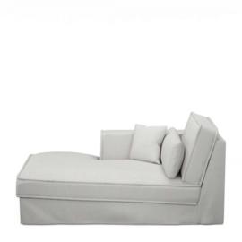 Metropolis Chaise Longue Left, washed cotton, ash grey 3723007