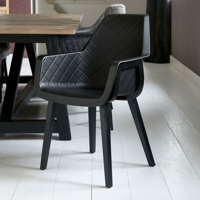 Amsterdam City Dining Armchair Black Leg, black Riviera Maison 5353008
