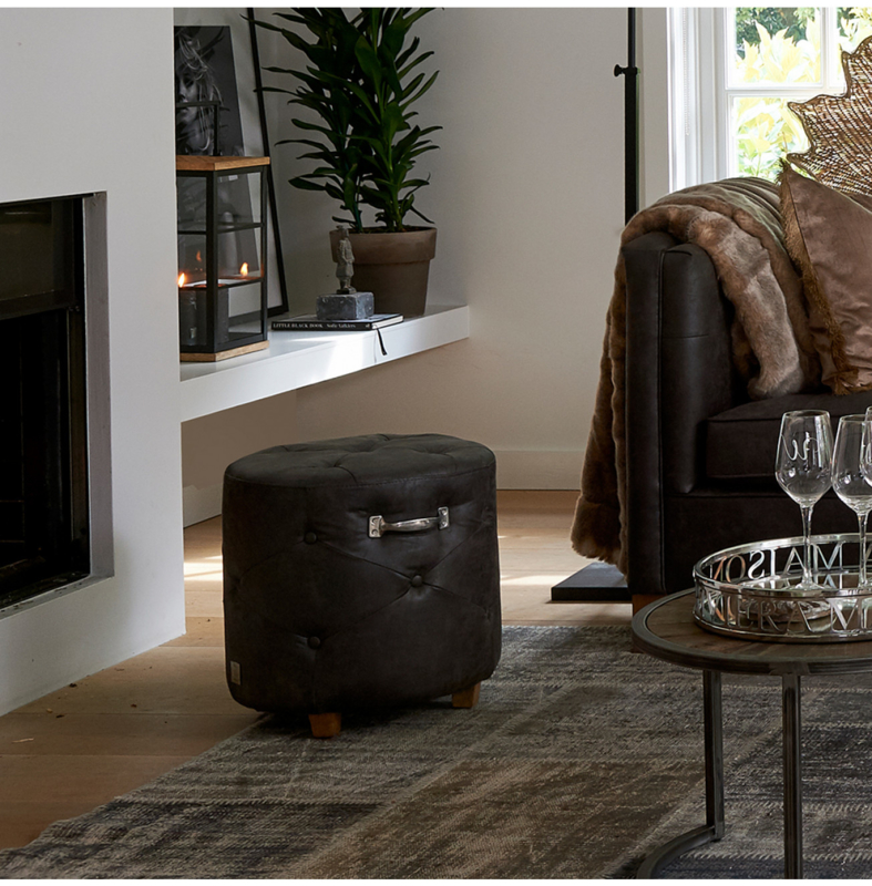 Bowery Footstool, pellini, espresso Riviera Maison 3606007
