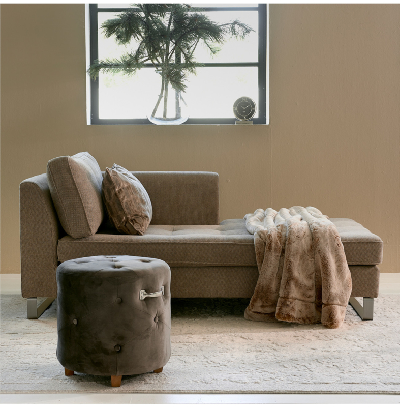 Bowery Footstool, velvet III, anthracite Riviera Maison 4962004