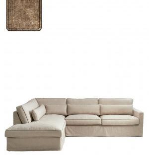 Brompton Cross Corner Sofa Chaise Longue Left, velvet, clay Riviera Maison 4042005