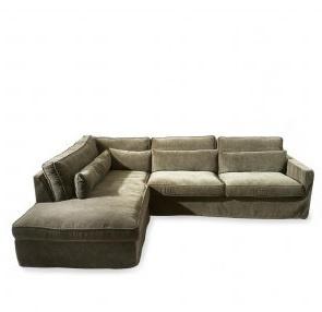 Brompton Cross Corner Sofa Chaise Longue Left, velvet, shadow Riviera Maison 4042004
