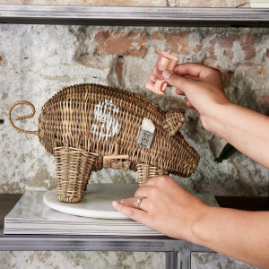 Rustic Rattan Piggy Money Saver Riviera Maison 426180