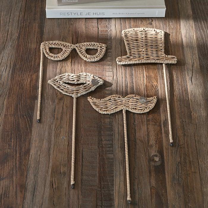 Rustic Rattan Photobooth Glasses Riviera Maison 474350