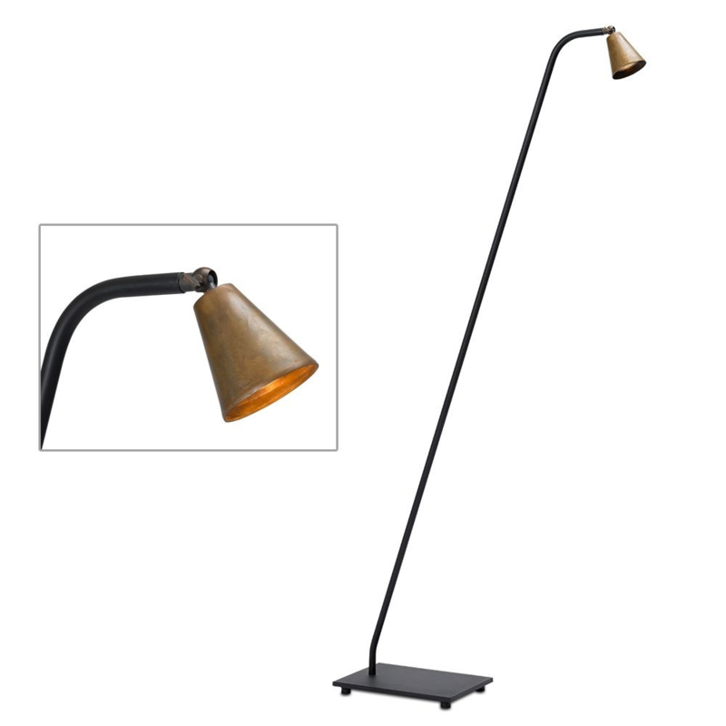 Stays Metalen vloerlamp in mat zwart met koperen kapje Frezoli