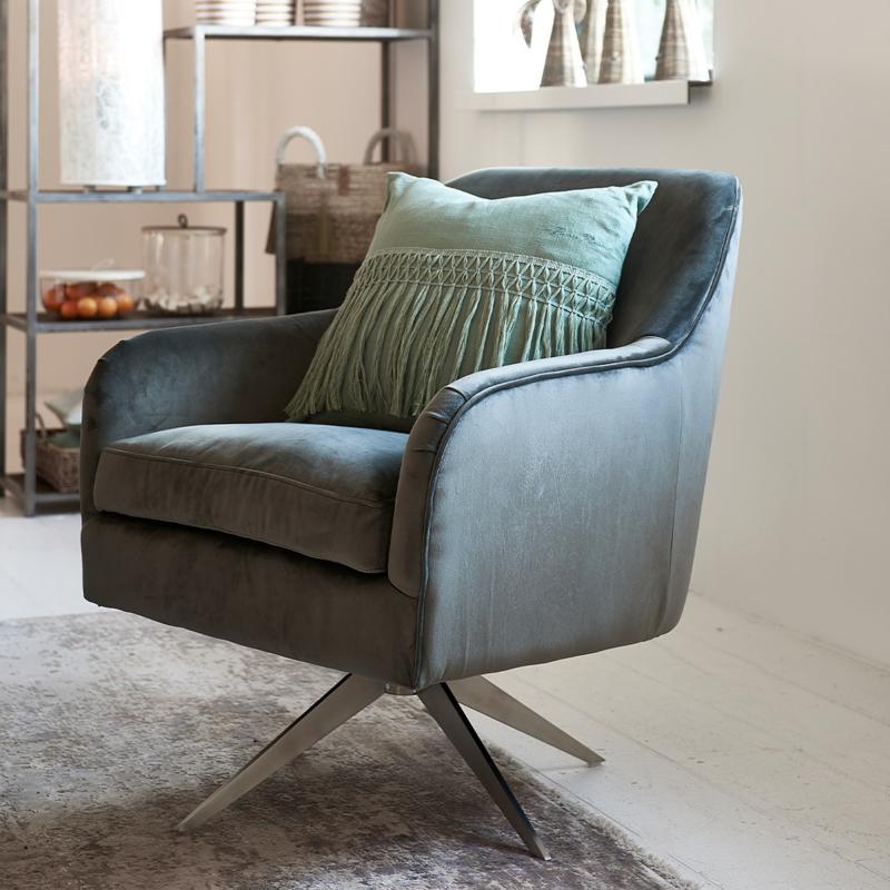 Fawcett Swivel Chair, velvet, grey Riviera Maison 4688001