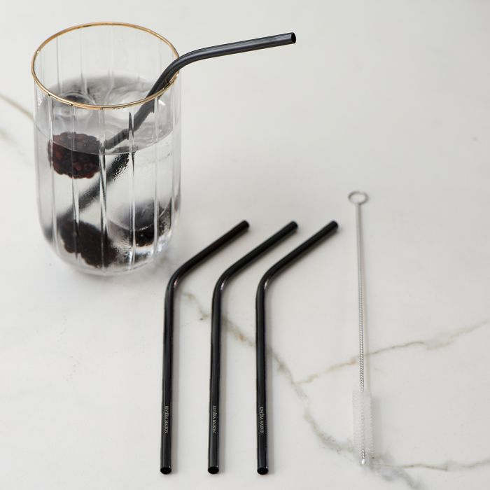 Happy Straws Metal black 4 pcs Riviera Maison 467190