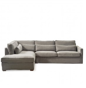 Brompton Cross Corner Sofa Chaise Longue Left, washed cotton, grey Riviera Maison 3845002