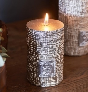 RM Linen Candle dusty silver 7x10 Riviera Maison 312240