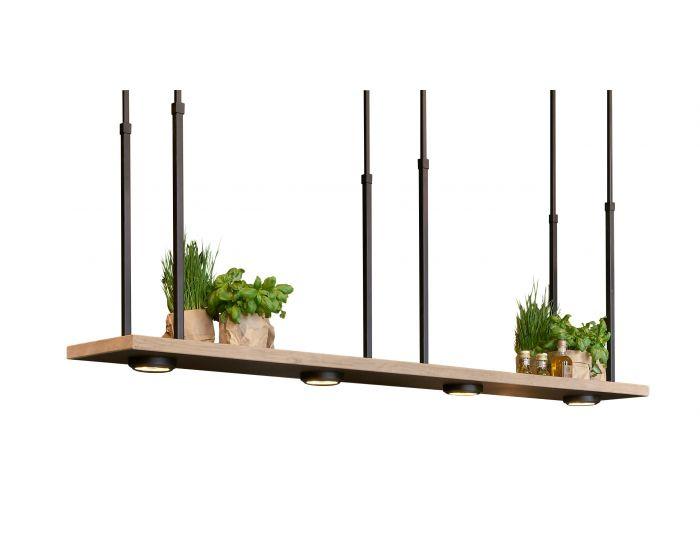 Tray XL Mat zwart Frezoli Hanglamp met licht eiken rand art.L.207.2.600