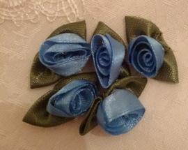 Satijn roosjes (Blauw)