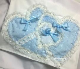 Romantisch Wieglakensetje Blauw/Wit