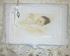 Brocant memo boek met hoesje baby