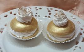 Decoratie macaron goud