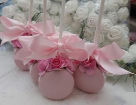 Macaron met stokje roze