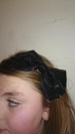 Leuke haarband met grote glitterstrik zwart