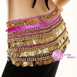 Mooie fluwelen heupsjaal met goudband en gouden kraaltjes en muntjes paars
