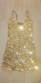Leuk glitter spaghetti jurkje goud maat XS/152/158