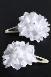 Setje haarschuifjes met witte bloem 3 bolletjes