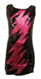 Flitsend zwart glitter pailletten jurkje met fuchsia bliksem